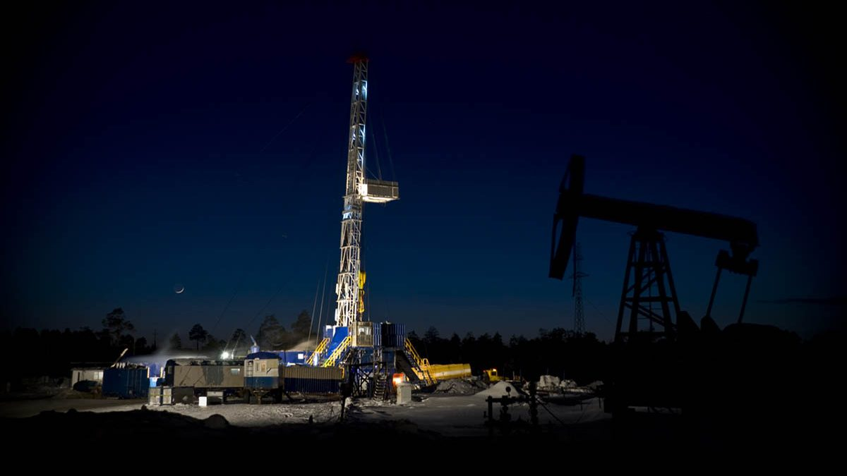 Night drilling for oil.