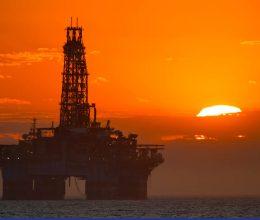Oil Platform at Sunset.